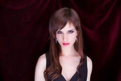一个可爱的蒸汽goth女孩的纵向 库存图片