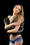 一个可爱的年轻金发碧眼的女人的画象。 库存图片