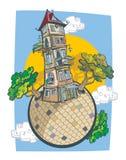 一个可笑的样式的老塔房子 库存照片