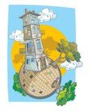 一个可笑的样式的老4面粉房子 免版税库存照片