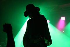 一个吉他弹奏者的剪影阶段的与有爱好者的拳头的一个牛仔帽在绿色反射器前面 图库摄影