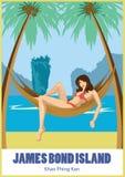 一个吊床的女孩在棕榈树下 政券海岛詹姆斯・泰国 库存例证