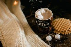 一个咖啡杯用在圣诞灯背景的可可粉 库存图片