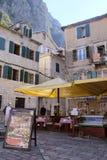 一个咖啡馆的图象在老镇科托尔 免版税库存照片