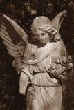 一个哀伤的天使的葡萄酒图象在公墓的 库存图片
