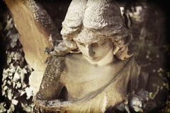 一个哀伤的天使的葡萄酒雕象在一座公墓的反对backgrou 免版税库存照片