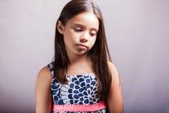 一个哀伤的小女孩的画象 图库摄影