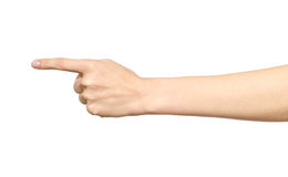 一个唯一指向的手指的女性白种人手势 免版税库存图片