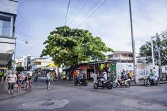 一个商业交叉点的看法在圣安德烈斯,哥伦比亚 库存图片