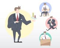 一个商人的套许多的运动例证[礼物,工作,运输,放松] 库存照片