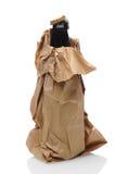 啤酒瓶在布朗袋子 免版税库存图片