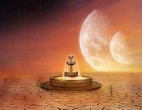 一个喷泉在沙漠 库存照片