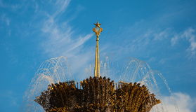 一个喷泉的喷气机反对天空的 免版税库存图片