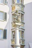一个喷泉的片段在老市苏黎世在s的瑞士 库存照片