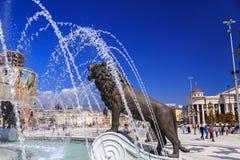 一个喷泉的狮子雕象在马其顿正方形的 图库摄影
