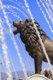 一个喷泉的狮子雕象在马其顿正方形的 免版税库存图片