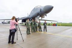 一个四引擎的超音速易变打扫翼,喷气机动力的重的战略轰炸机罗克韦尔B-1B持枪骑兵 库存图片