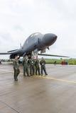 一个四引擎的超音速易变打扫翼,喷气机动力的重的战略轰炸机罗克韦尔B-1B持枪骑兵 库存照片