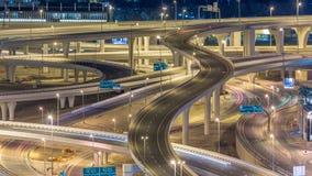 一个回教族长zayed路交叉点的鸟瞰图一大城市timelapse的 影视素材