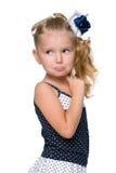 一个困惑的小女孩的画象 免版税库存照片