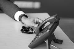 一个固定的电话在办公室 库存图片