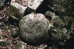 一个圆的岩石 库存照片