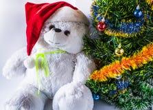 一个圣诞老人帽子和一棵圣诞树与一个玩具熊的玩具,在轻的背景 图库摄影