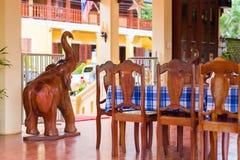 一个地方咖啡馆的内部, Louangphabang,老挝 复制文本的空间 免版税库存图片