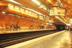 一个地铁车站的内部在巴黎 库存照片
