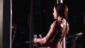 一个坚强,肌肉,运动爱好健美者女孩,短的短裤的,训练在一台水平的模拟器的背部肌肉在a 股票视频