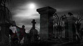 一个坟园的吸血鬼在与满月的有雾的夜 免版税图库摄影