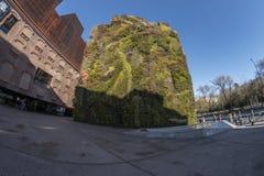 一个垂直的庭院的Fisheye 180视图在市马德里 库存照片
