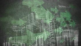 一个城市和二进制编码的凹道反对大绿色箭头的在背景中 向量例证