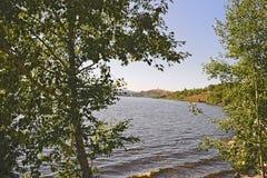 一个城市池塘的堤防在一个晴朗的夏日 图库摄影