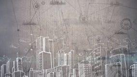 一个城市的凹道的正面图反对分析动画的在背景中 皇族释放例证