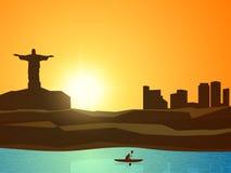 一个城市的看法有皮艇的体育概念的 图库摄影