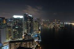 一个城市的空中图象在晚上 库存图片