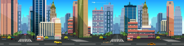 一个城市风景的例证,与大厦和路,与被分离的层数的传染媒介无止境的背景比赛的 皇族释放例证
