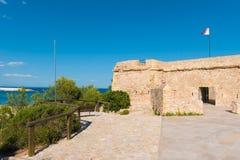 一个堡垒在L ` Ametlla de Catalunya 3月,塔拉贡纳,西班牙城市 复制文本的空间 库存图片