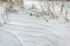一个处女被雪包围住的领域 免版税库存照片
