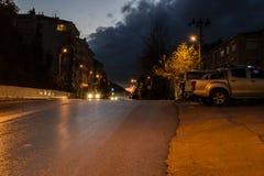 一个夏天镇在晚上 库存图片