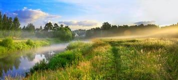一个夏天风景的全景与日出、雾和河的 库存图片