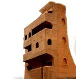 一个多层的大厦的三维房子模型由生态材料制成 库存照片