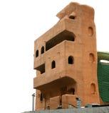 一个多层的大厦的三维房子模型由生态材料制成 免版税库存图片