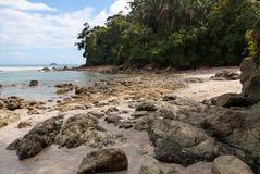 一个多岩石的海滩在曼纽尔安东尼奥国家公园,哥斯达黎加 库存照片