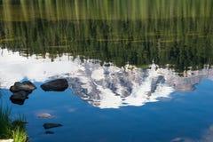 反射斯诺伊山峰森林在湖 免版税库存照片