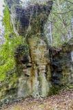 一个大不对称形状的岩石的图象与绿色,黑,米黄斑点的 免版税库存照片