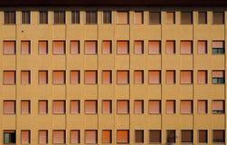 一个大公寓的黄色门面与不同的树荫棕色快门的  免版税图库摄影