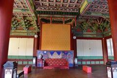 一个大厅的内部在昌德宫宫殿在汉城 免版税库存图片