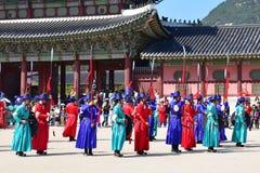 一个大厅的内部在景福宫宫殿在汉城 图库摄影